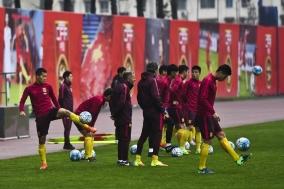중국 국가대표팀,  한국전 대비 긴장속 훈련 진행