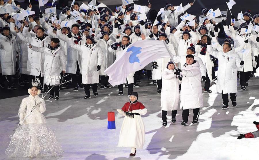 평창동계올림픽 개막...남북 대표단 공동 입장